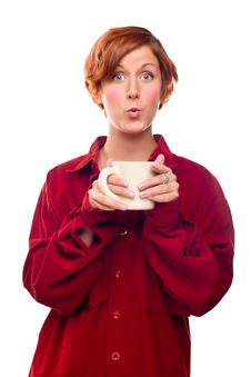 Free Pretty Red Haired Girl With Hot Drink Mug Isolated Stock Photos - 17144643