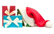 Free Gift Boxes And Santa Hat Royalty Free Stock Photos - 17144878
