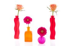 Free Flowers In Colorful Glass Vases Royalty Free Stock Image - 17145106