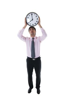 Free Businessman With Clock Above His Head Royalty Free Stock Images - 17145139