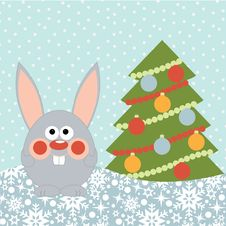 New Year Card With Cute Happy Rabbit Stock Photos