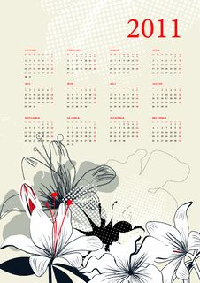 Free Template For Calendar 2011 Stock Image - 17145691