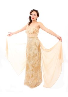 Beautiful Young Woman In An Elegant Dress Stock Photos