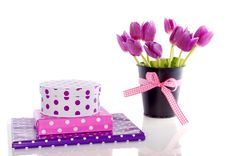 Free Purple Tulips And Gifts Royalty Free Stock Photo - 17145925