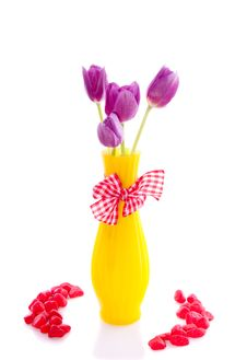 Purple Tulips In A Yellow Vase Stock Images