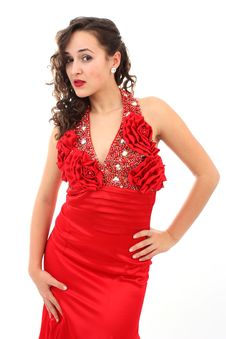 Free Beautiful Woman In Red Dress Stock Photos - 17146043