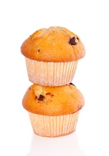 Free Two Stacked Muffins Royalty Free Stock Photo - 17146115