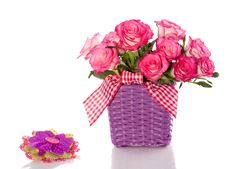 Free Pink Roses In A Purple Flower Pot Stock Photography - 17146192