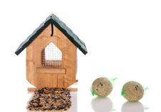 Free Wooden Birdhouse With Seeds Royalty Free Stock Photography - 17146217