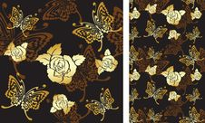 Free Background With Roses And Butterflies Royalty Free Stock Photography - 17146257