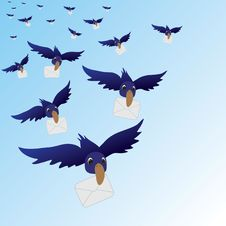 Free Flying Birds With Envelopes Stock Image - 17146411