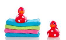 Free Red Ducks On Towels Stock Image - 17146461