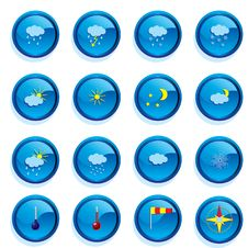 Free Set Of Weather Buttons Royalty Free Stock Photos - 17146568
