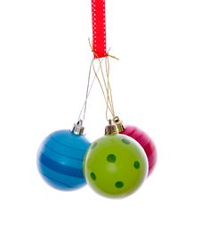 Free Three Colorful Modern Christmas Balls Royalty Free Stock Photography - 17146627
