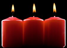 Free Three Red Candles Royalty Free Stock Photo - 17146815
