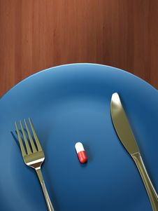 Pill On A Dish Royalty Free Stock Photography