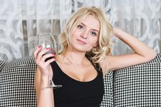 Free Woman With Goblet Of Wine Royalty Free Stock Images - 17148689
