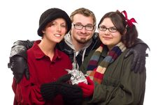 Free Three Friends Holding A Holiday Gift Isolated Stock Image - 17148971