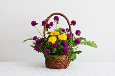 Free Colorful Flowers In Brown Basket Royalty Free Stock Image - 17149566