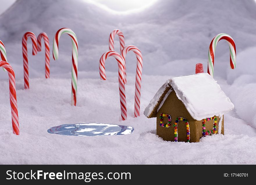 Christmas Candy Cane Forest Cottage Pond Free Stock Images