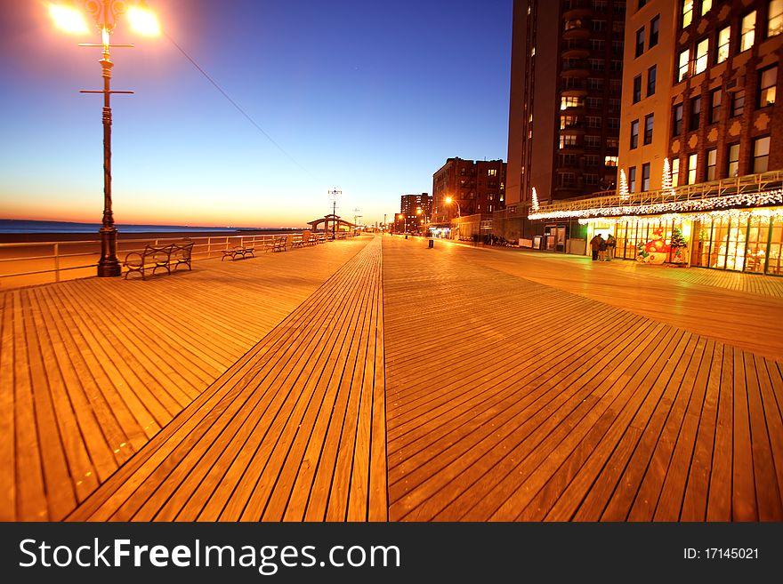 evening in Brighton Beach of Coney Island