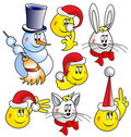 Free Buttons - Snowman, Cat, Hare, Rabbit Royalty Free Stock Photos - 17155418