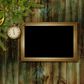 Free Card For The Holiday With Branches And Clock Stock Photo - 17156720