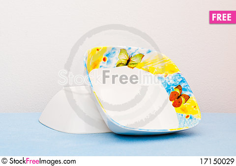 Free Two Beautiful Bowls On Blue Cloth Royalty Free Stock Images - 17150029