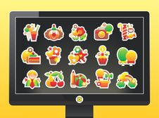 Free Monitor With A Beautiful Holiday Icons Stock Photography - 17151342