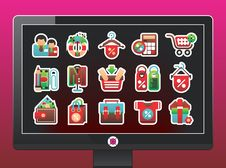 Monitor With A Beautiful Shopping Icons Royalty Free Stock Photos