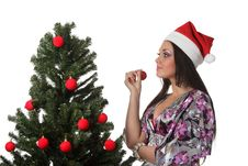 Free Woman Decorate A Christmas Tree Royalty Free Stock Photography - 17151787