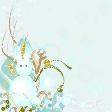 Free Rabbit - A Snowman Royalty Free Stock Photos - 17153118