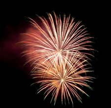 Colorful Fireworks At Night Sky Stock Photos