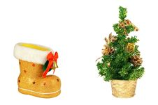 Golden Christmas Tree And Boots Stock Image