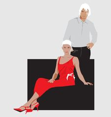 The Standing Guy And The Sitting Girl Stock Images