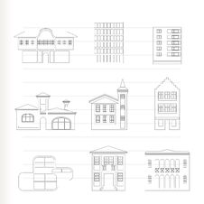 Different Kind Of Houses And Buildings Royalty Free Stock Images