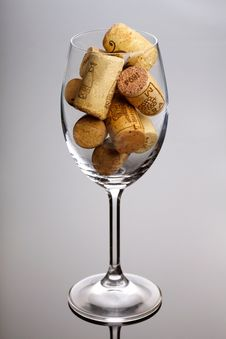 Free Wineglass Full Of Corks Royalty Free Stock Photography - 17156847
