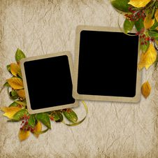 Free Card For The Holiday  With Autumn Leaves Royalty Free Stock Image - 17156896
