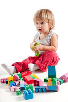 Cute Little Boy Playing With Colorful Blocks Stock Photography