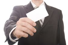 Free Business Man Handing A Blank Business Card Royalty Free Stock Images - 17157829