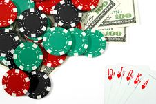 Free Royal Flush And Dollars Royalty Free Stock Image - 17158086