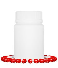 Free Capsule Pills And White Plastic Bottle. Royalty Free Stock Photo - 17158245
