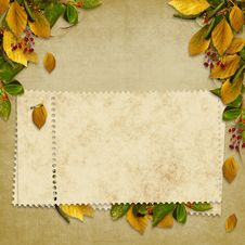 Free Card For The Holiday  With Autumn Leaves Stock Photography - 17158792