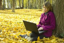 Free Girl With A Laptop Royalty Free Stock Photo - 17159395