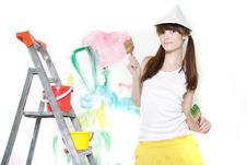 Free Attractive Girl Ready For Painting Over White Royalty Free Stock Photo - 17159885