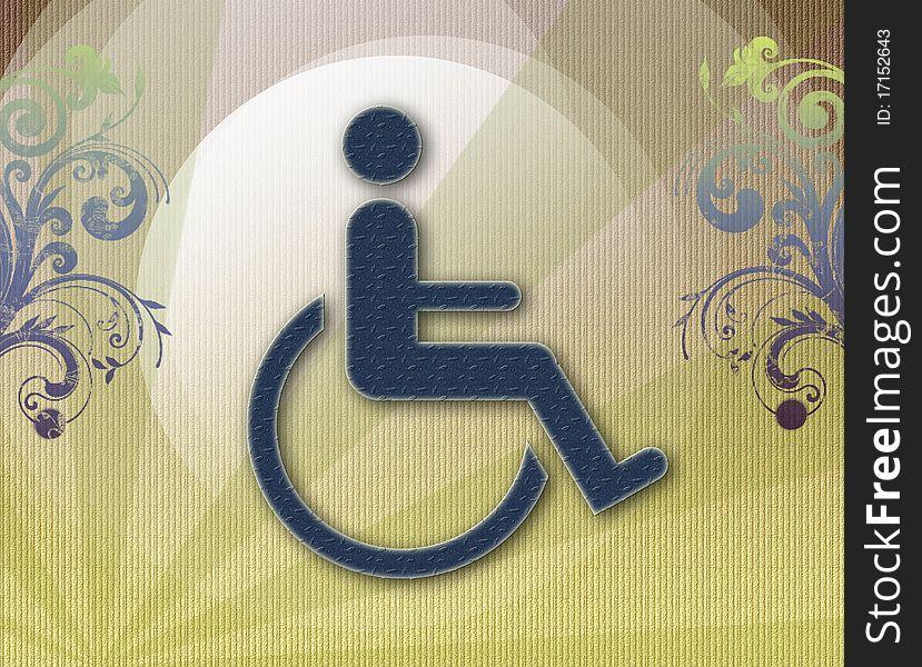 Handicap symbol of accessibility,retro background