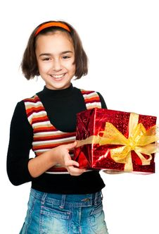 Free Little Girl With Gift Stock Photo - 17160050