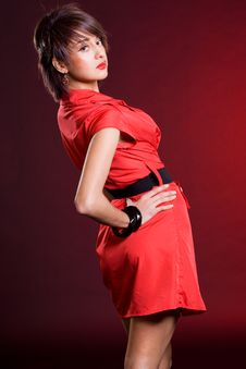 Free Girl In Red Dress Royalty Free Stock Photo - 17160215