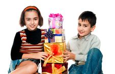 Free Children With Gifts Royalty Free Stock Image - 17160216