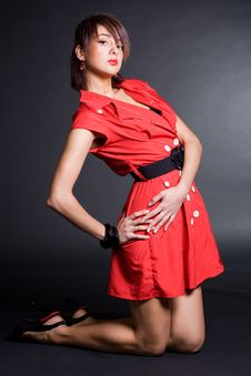 Free Girl In Red Dress Stock Photo - 17160250
